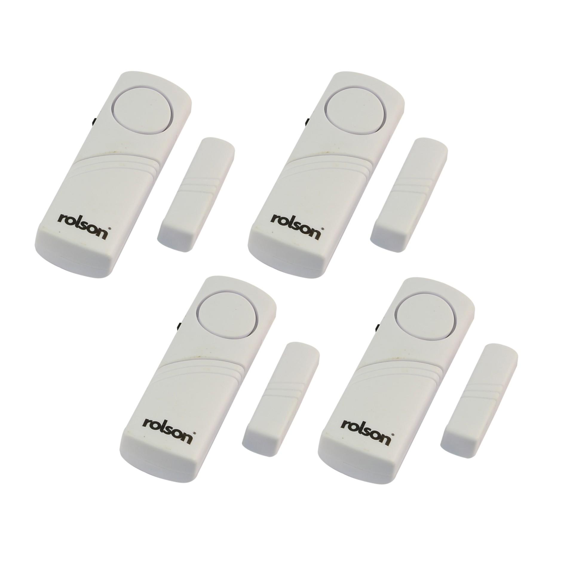Rolson 66845 4pc wireless door and window audible alarm for Window alarms