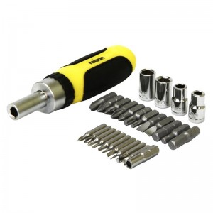 Rolson 28pc Ratchet Screwdriver, Bit & Socket Set