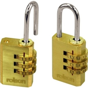 Rolson 2pc Combination Brass Padlocks
