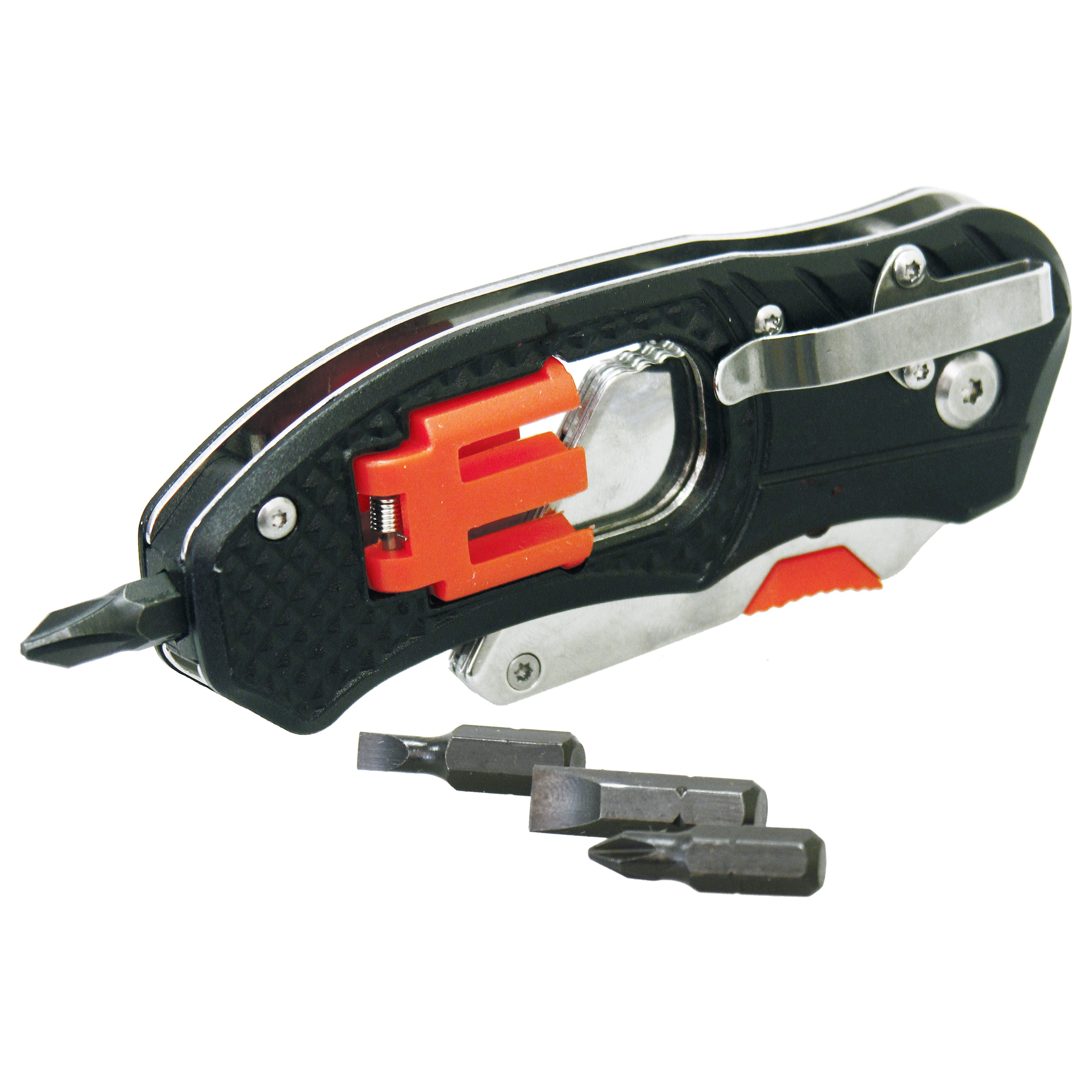 Rolson 36004 Folding Utility Knife With Screwdriver And Bits