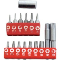 Am-Tech 16pc Torx and Tamperproof Bit Set