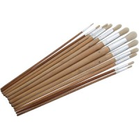 Am-Tech 12pc Round Artist Brushes Long Wood Handle