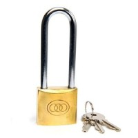 Tri-Circle Long Shackle Brass Padlock