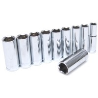 "Rolson 11pc 3/8"" Deep Sockets"