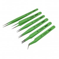 Rolson 6pc Epoxy Coated Tweezers