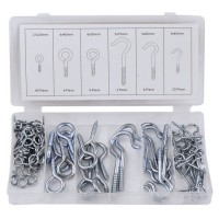 Rolson 80pc Hook & Eye Bolt Assortment