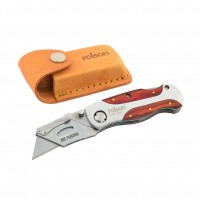 Rolson Folding Lock-Back Utility Knife with Leather Pouch