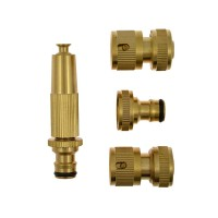 Green Jem 4pc Brass Hose Connector Set