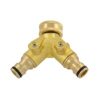 Green Jem Brass Dual Shut Off Hose Connector