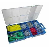 160pc Wood Screw and Wall Plug Assortment