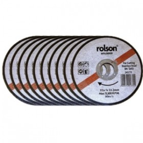 Rolson Stainless Steel Cutting Disc 115mm Pack of 10 Discs