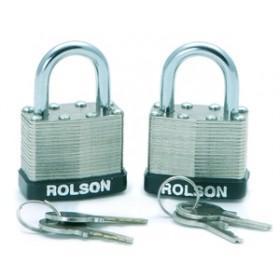 Rolson 2pc 50mm Laminated Padlocks Keyed Alike