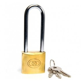 Tri-Circle Long Shackle Brass Padlock