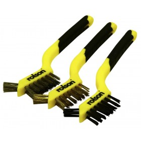 Rolson 3pc Brush Set - Stainless Steel - Nylon - Brass