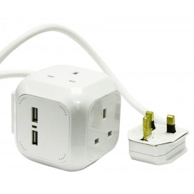 Rolson PowerCube Dual USB Port with 4 Outlets