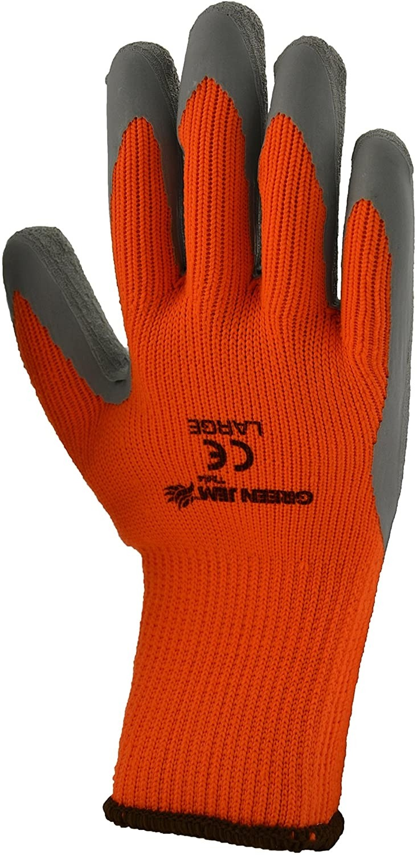 Green Jem High Vis Winter Work Gloves, Orange, Large